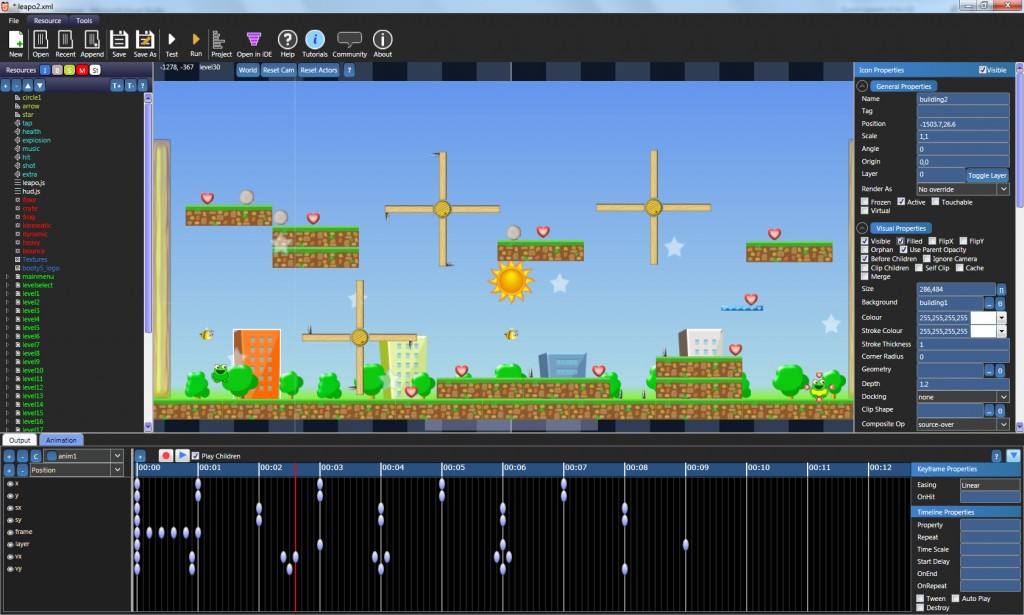 Booty5 2D HTML5 game editor screenshot